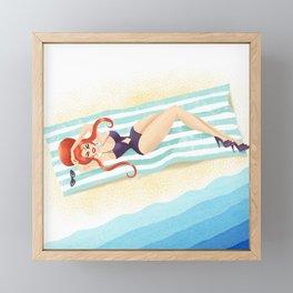 Red Haired Bouffant Beach Blanket Bombshell Framed Mini Art Print
