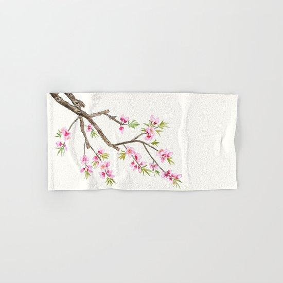 pink peach flowers Hand & Bath Towel