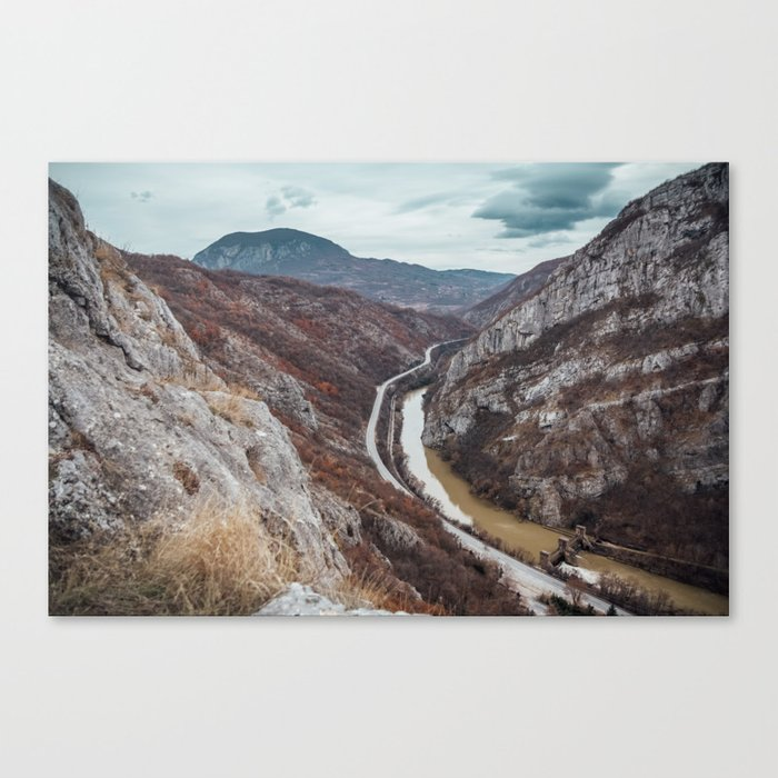 Beautiful photo of the canyon in Serbia, with river and the highway in the middle Canvas Print