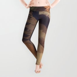 brush painting texture abstract background in black and brown Leggings