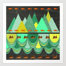 fishes which wanted to hike while cows wanted to swim Art Print