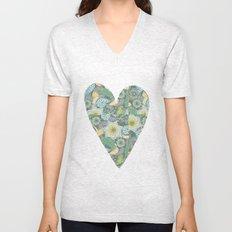 Green Patterned Heart Unisex V-Neck
