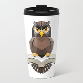 Vector, Brown Owl fly with the book Travel Mug