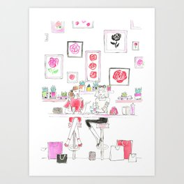 Cafe Girls Art Print