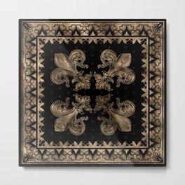 Fleur-de-lis - Black and Gold #2 Metal Print