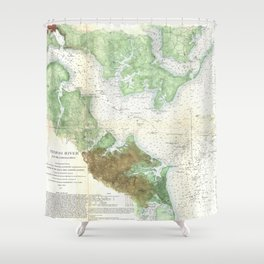 Patapsco River and Chesapeake Bay Map (1857) Shower Curtain