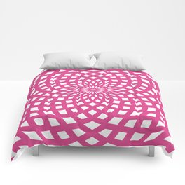 Classic Rosette Pattern in Magenta and White Colors Comforters