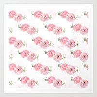 Pink Watercolor Ranunculus print w/grunge Art Print