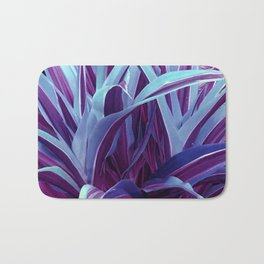 Exotic, Lush Purple and Sky-Blue Leaves Bath Mat
