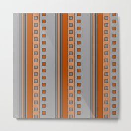 Squares and Stripes in Terracotta and Gray Metal Print