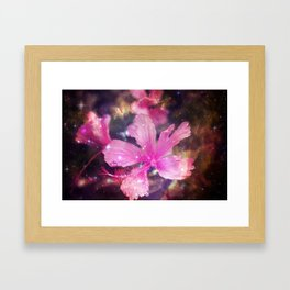 tropical galaxy flowers Framed Art Print