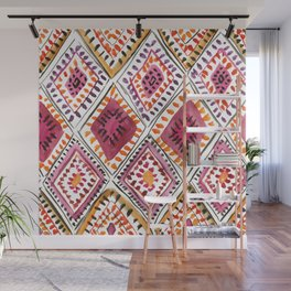 Warm Color Moroccan Rug Beautiful Embroidered Traditional Pattern Watercolor Painting Kilim Tapestry Wall Mural