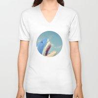 shark V-neck T-shirts featuring Shark! by Cassia Beck