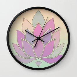 Lotus Flower Pastel Meditation Yoga Symbol Wall Clock