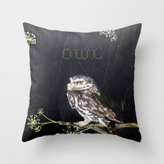 Little Owl and Ivy Throw Pillow