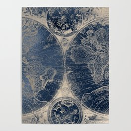 Antique World Map Gold Navy Blue Library Poster