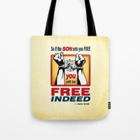 aelwen Tote Bags featuring FREE INDEED! by Peter Gross