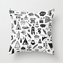 Wild And Free, Scandinavian Kids Throw Pillow