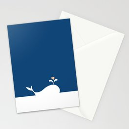 Whale in Blue Ocean with a Love Heart Stationery Cards