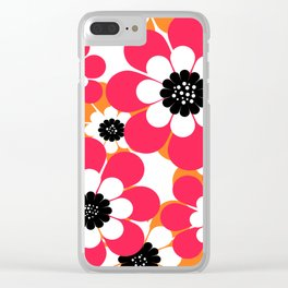 The floral pattern . red and yellow on a white background . Clear iPhone Case
