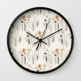 Coral Watercress Pond Wall Clock
