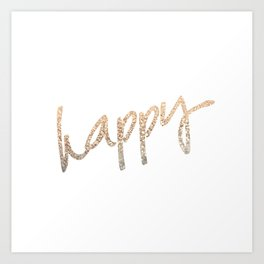 GOLD HAPPY Art Print