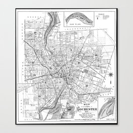 Vintage Map of Rochester NY (1901) BW Canvas Print