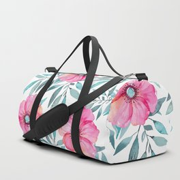 Pink Garden Flowers Duffle Bag