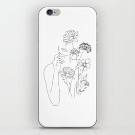 Minimal Line Art Woman with Flowers III iPhone Skin