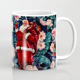 Santa Claus and Floral Pattern Coffee Mug