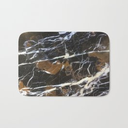 Stylish Polished Black Marble Bath Mat