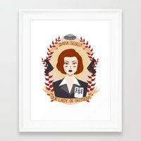 wallet Framed Art Prints featuring Dana Scully by heymonster