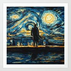 Starry Night Sherlock Holmes Art Painting Art Print