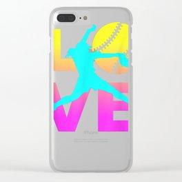 LOVE Softball Teen Girls Women T-Shirt Clear iPhone Case