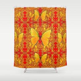 GOLDEN YELLOW BUTTERFLIES RED PATTERN ABSTRACT Shower Curtain