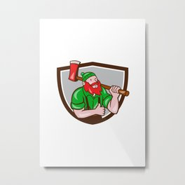 Paul Bunyan Lumberjack Axe Thumbs Up Crest Cartoon Metal Print