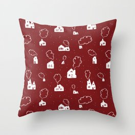 Cozy Winter Homes Pattern - Holiday Red Throw Pillow