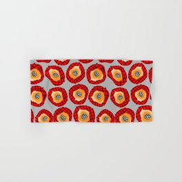 Irregular Red Circles with Black Cross Hatch Yellow Orange and Black Center. Hand & Bath Towel