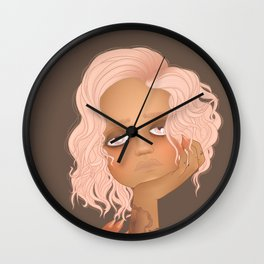 portrait of girl with pink hair and tattoos Wall Clock