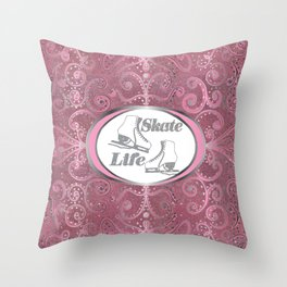Skate Life Design on a Rose Gold Glitter Background with Silver Glitter Accents Throw Pillow