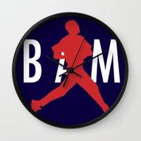 obama Wall Clocks featuring Obama Jumpman by Michael Rosenfeld