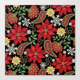 Christmas Poinsettia Paisley Canvas Print