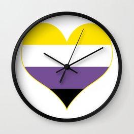 Gender Non-Binary Heart Wall Clock