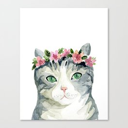 grey cat with flowers Canvas Print