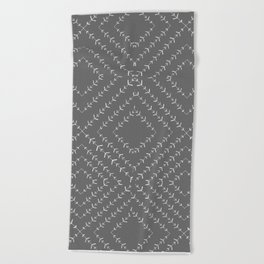 Gray and white varied vines Beach Towel
