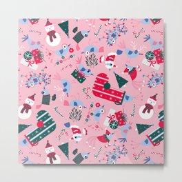 Christmas Birdies - Pink Metal Print
