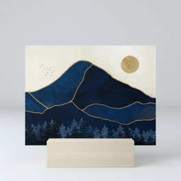 Mount Hood // Sapphire Blue Abstract Dream Oregon Gold Mountain Wilderness Forest Sun Landscape Mini Art Print