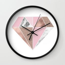 Marble and rose gold tones - diamond Wall Clock