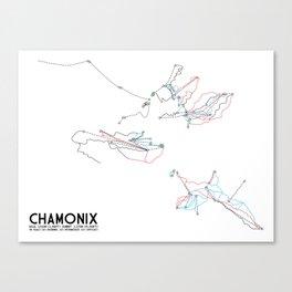 Chamonix, Haute-Savoie, FRA - European Edition - Minimalist Trail Art Canvas Print