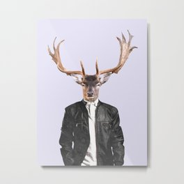 Fashionable Deer Illustration Metal Print
